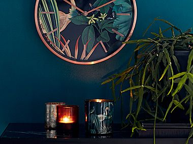 Candle holders and clock