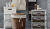 Bathroom shelves, drawers and baskets