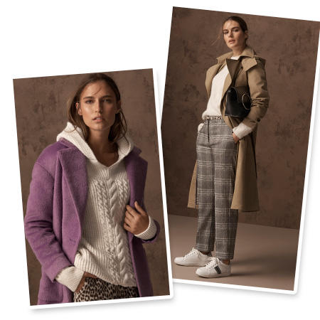 Model wears lilac coat over a cream chunky-knit hooded sweater and leopard-print trousers & Model wears a beige trench coat with a cream jumper, grey checked trousers and white trainers