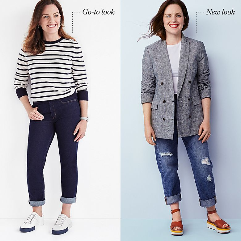 Woman swaps her favourite skinny jeans for distressed jeans
