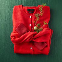 Folded red cardigan