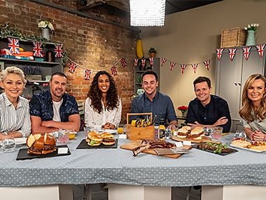 Celebrity food panel Emma Willis, Paddy McGuinness, Rochelle Humes, Ant McParlin, Declan Donnelly and Amanda Holden