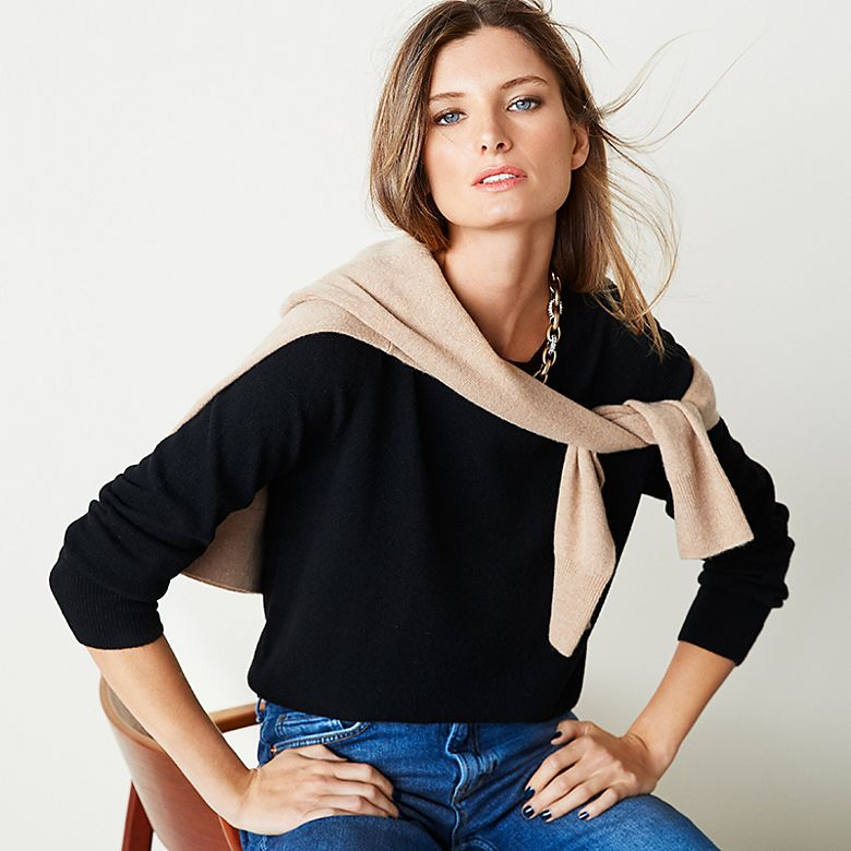 Woman wearing navy cashmere jumper