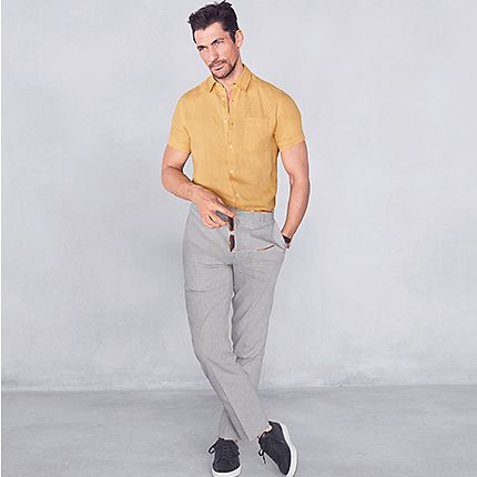 David Gandy wearing yellow formal shirt