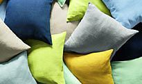 Linen cushions in a variety of colours