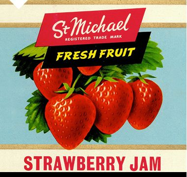 Exclusively designed St Michael food packaging for Strawberry jam, 1950s