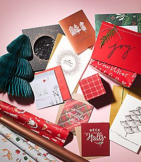 Selection of Christmas cards and gift wrap