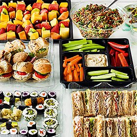 Selection of sushi and sandwiches