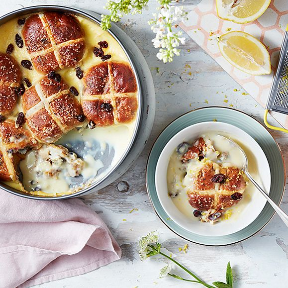 Hot cross buns in a bread-and-butter pudding