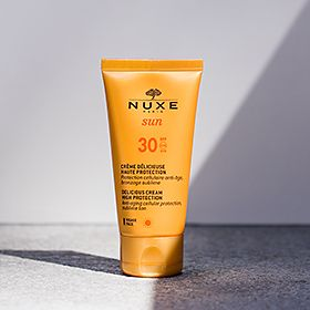 Nuxe sun cream in the shade