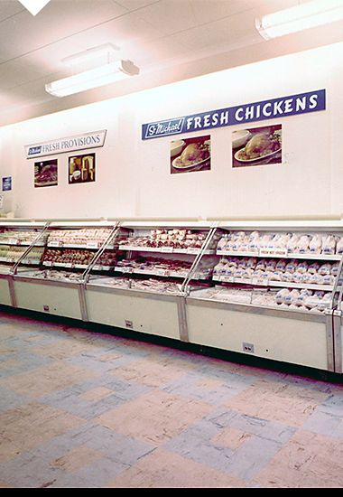 Popular St Michael freshly chilled chicken in our chiller cabinets, 1960s