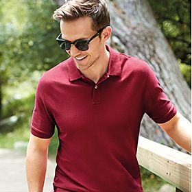 Man wearing polo shirt