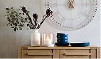 Sonoma sideboard, vases and clock in hallway