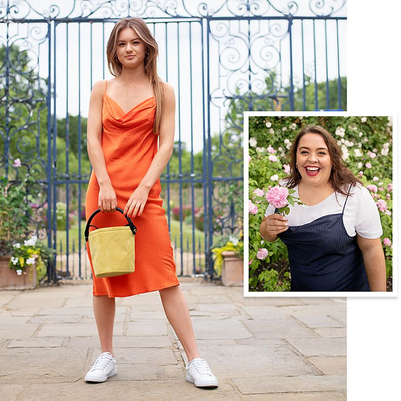 M&S Insiders Jess and Nicola wearing Nineties slip dresses