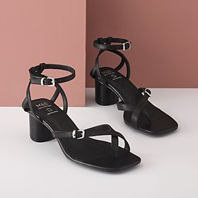 Black leather ankle-strap sandals