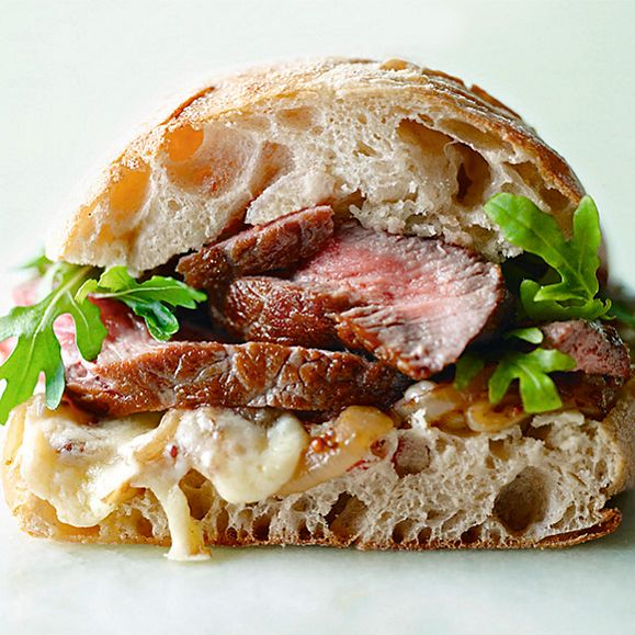 Beef sandwich on ciabatta bread