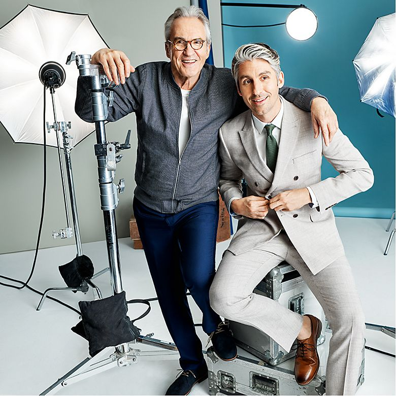 Larry Lamb wearing a linen bomber jacket and George Lamb wearing a linen suit