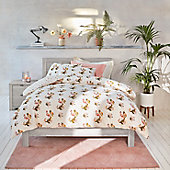 Printed bedding on a double bed