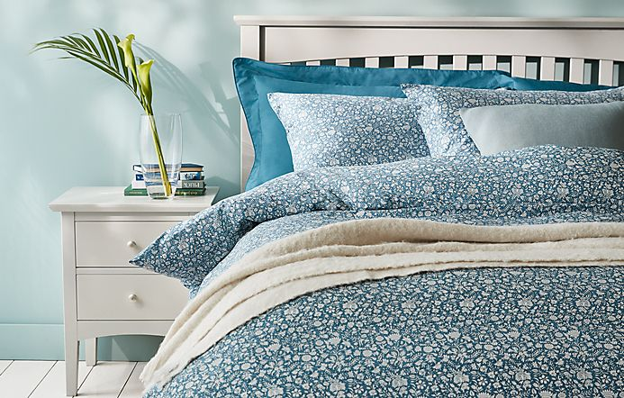 Patterned bedding on double bed