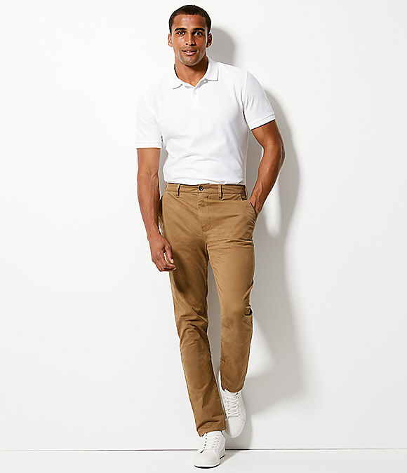 Man wearing skinny fit chinos